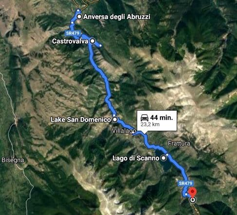 route voorbeeld vanaf Anversa tot aan Scanno