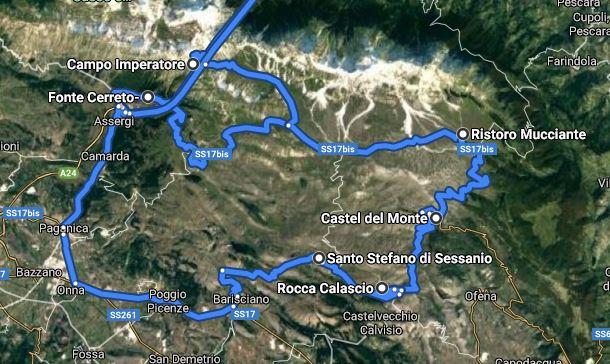 route campo imperatore - castel del monte - calascio - santo stefano